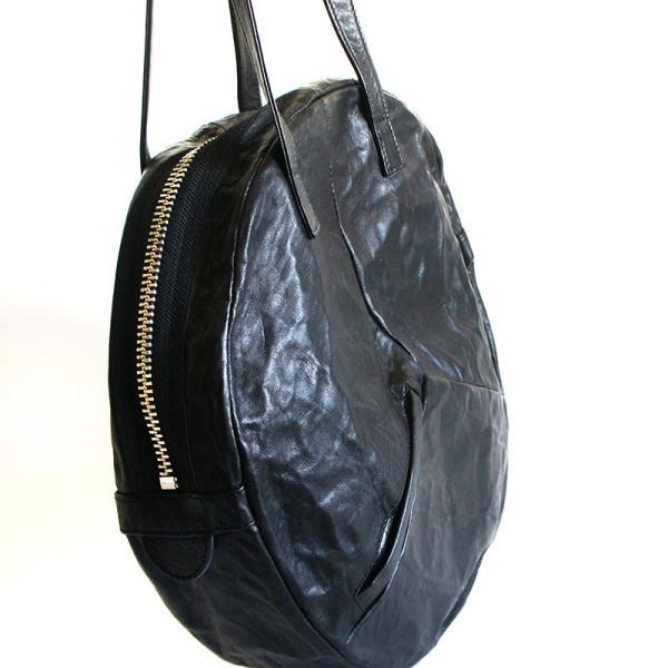 VIA DOAN ヴィアドアン Country 丸型レザートートバッグ 1704  アルミ貼り 黒 日本製 kokochi 03