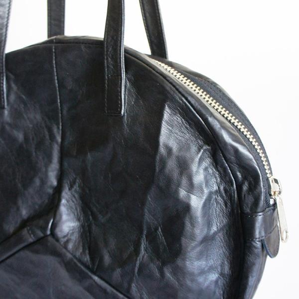 VIA DOAN ヴィアドアン Country 丸型レザートートバッグ 1704  アルミ貼り 黒 日本製 kokochi 04