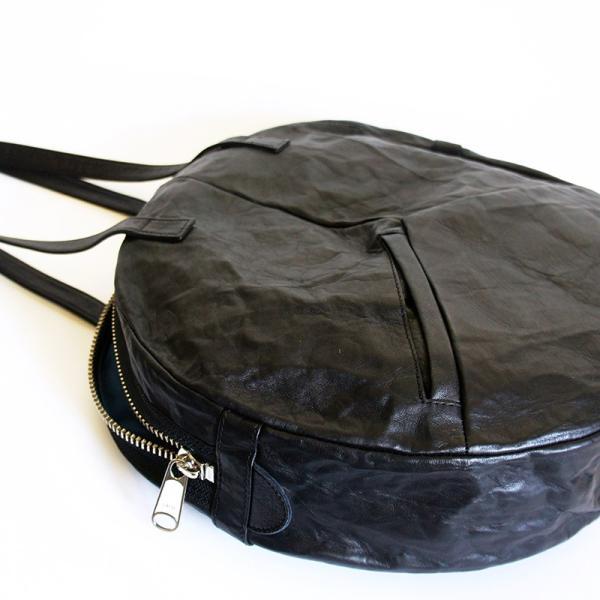 VIA DOAN ヴィアドアン Country 丸型レザートートバッグ 1704  アルミ貼り 黒 日本製 kokochi 09