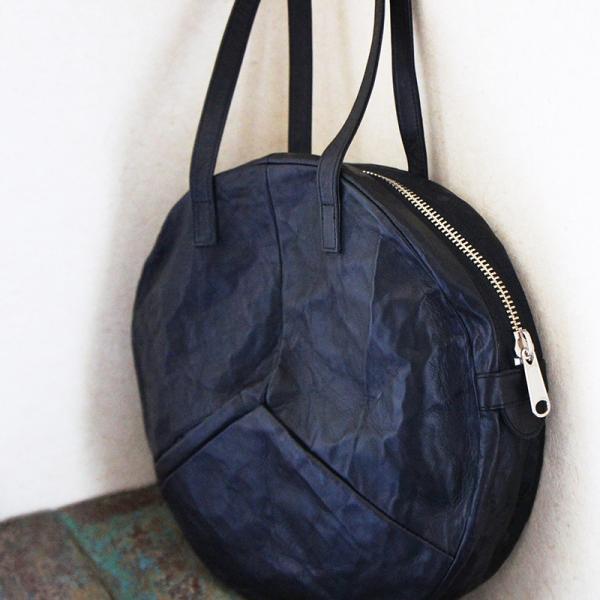 VIA DOAN ヴィアドアン Country 丸型レザートートバッグ 1704  アルミ貼り 黒 日本製 kokochi 10