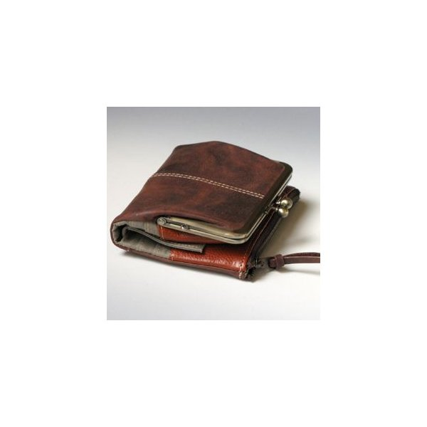 Ain Soph(アインソフ)二つ折がま口財布  チョコ|kokochi|02