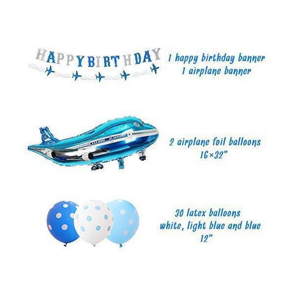 飛行機 風船 バルーン 誕生日 飾り付け 男の子 ヘリコプター ブルー happy birthday バナー ガーランド ホワイト 33枚セット|kokona0221|05