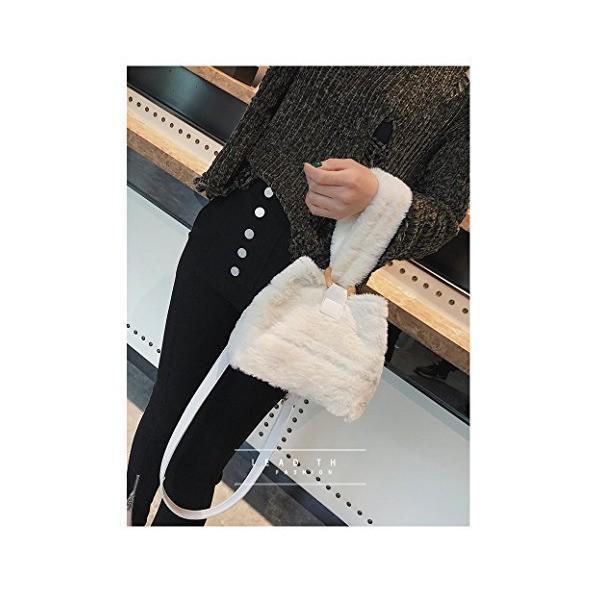 ファー バッグ レディース ショルダー 黒 トートバッグ 2way ショルダーバッグ かわいい 軽量 斜めがけバッグ (ホワイト)