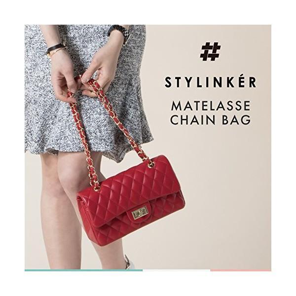 【STYLINKER】全4色 ダブルフラップ マトラッセチェーンバッグ キルティング チェーンバッグ チェーンストラップ ショルダーバッグ チェーン