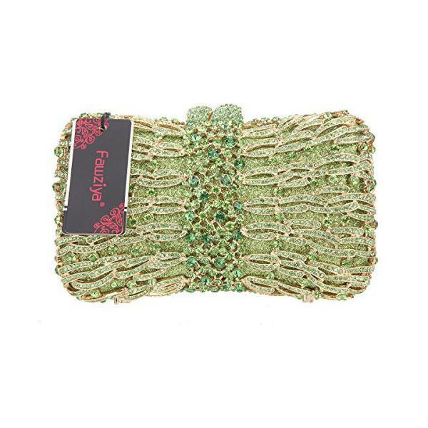 Fawziya(ファウジーヤ) パーティバック 結婚式 バッグクラッチバック レディース 人気 ハンドバッグ -グリーン