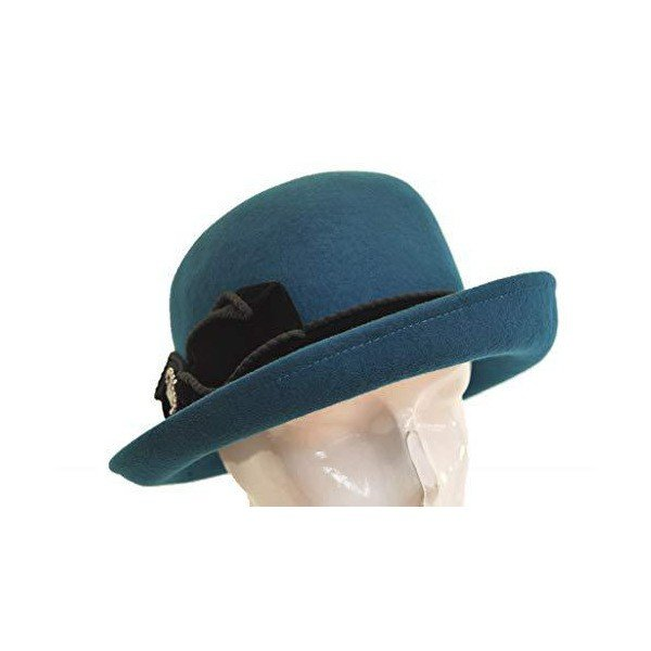 (カルロフォルティ)CARLO FORTI IZ522 ウール帽体 レディース 婦人 ハット イタリア製 インポート ネット通販 秋冬 (エメラルド