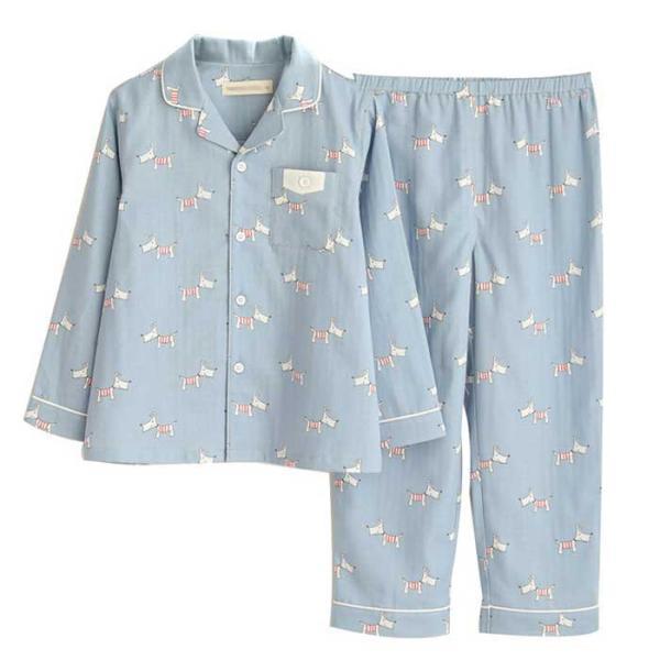 パジャマ キッズ 春 秋 長袖 前開き 子供 ボーイズ ルームウェア コットン100% ダブルガーゼ 上下セット 男の子 子ども 綿 ゆったり おしゃれ 寝巻き こども