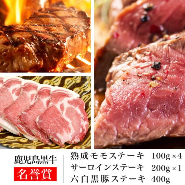 熟成肉と黒毛和牛と六白黒豚ステーキセット 熟成ステーキ100g×4枚+黒毛和牛 サーロイン200g×1枚+六白黒豚ステーキ400g(kagoshimabeef)