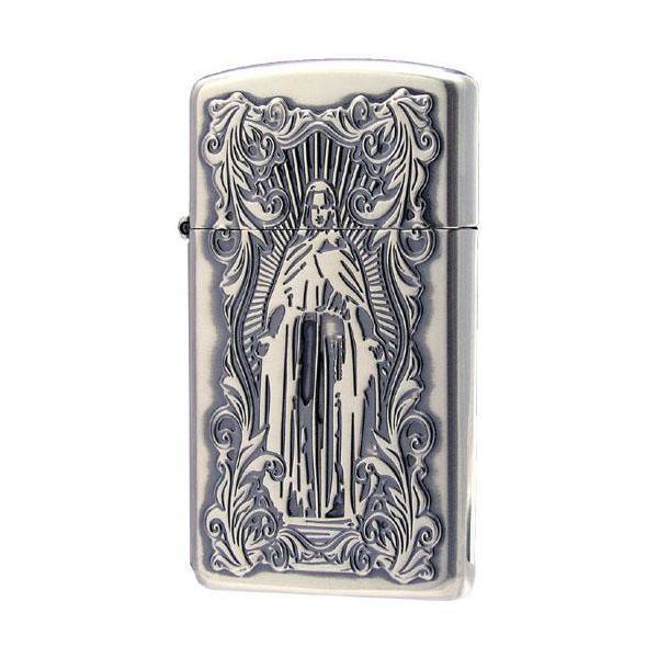 ZIPPO(ジッポー) オイルライター ディープエッチング アラベスクマリア スリム 銀いぶし 63210198 かっこいい キリスト デザイン