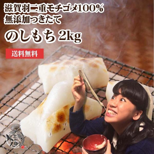 餅 送料無料 老舗米屋がお届け のび〜る つきたて のし餅 2kg 国産 無添加 もち 岩手県産ヒメノモチ100%