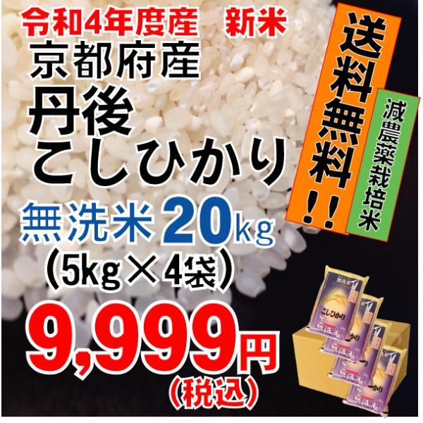平成30年度 無洗米 京都府産 丹後こしひかり 5kg×4袋