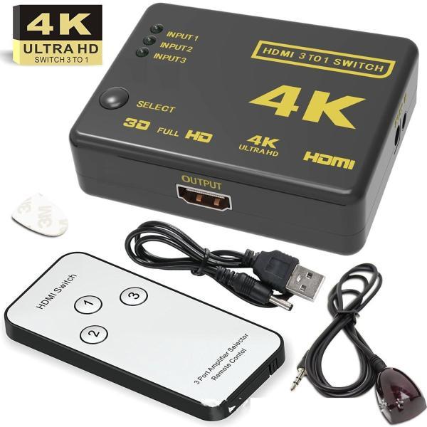 HDMI 切替器 セレクター 3ポート 3入力1出力 リモコン付き 3to1 変換器 分配器 K対応 HDMIセレクター HDMI切替器 HDMI分配器|komonogenza|03