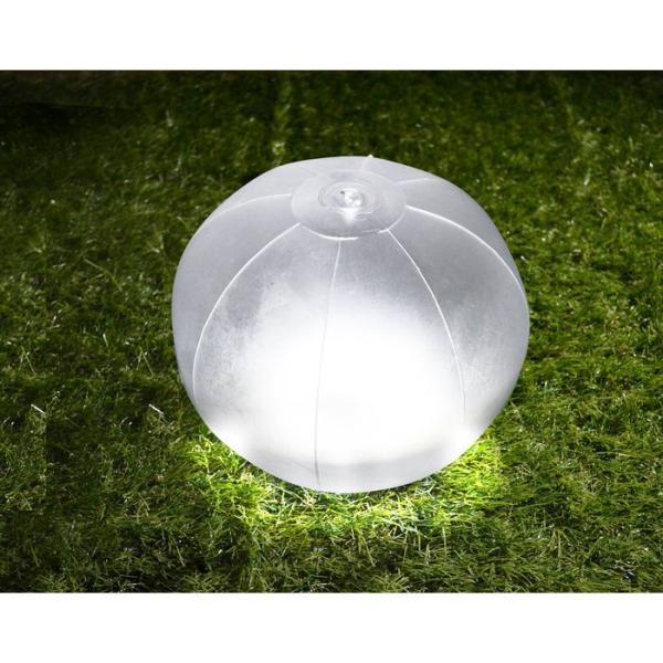 ビーチボールのようにふくらませる防水LEDソーラーランタン ホワイト グリーンハウス GH-LED10SLA-WH|konan