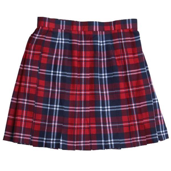 あすつく TEENS EVER チェック プリーツスカート(朱赤×ネイビー×白)Mサイズ スクールスカート 制服スカート プリーツ 高校生 中学生 4560320822363|konan|02
