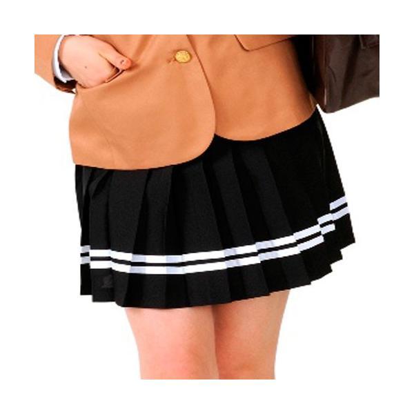 あすつく TEENS EVER 12AW スカート(ブラックX白ライン) Lサイズ スクールスカート スカート プリーツ 女子 レディース 高校生 中学生 4560320846154|konan|03