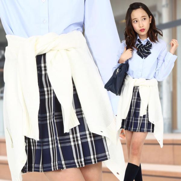 TEENS EVER 16SS 無地 プリーツスカート(紺×白 Mサイズ) スクールスカート 制服ト 無地 女子 レディース 高校生 中学生 学校  4560320864509|konan