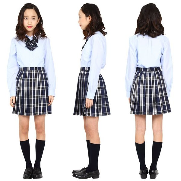 TEENS EVER 16SS 無地 プリーツスカート(紺×白 Mサイズ) スクールスカート 制服ト 無地 女子 レディース 高校生 中学生 学校  4560320864509|konan|03