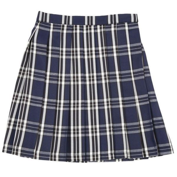 TEENS EVER 16SS 無地 プリーツスカート(紺×白 Lサイズ) スクールスカート 制服 無地 女子 レディース 高校生 中学生 学校 4560320864516|konan|02