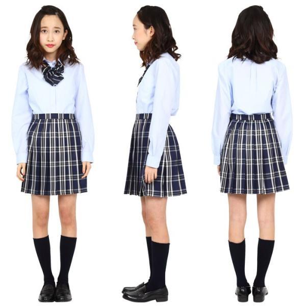 TEENS EVER 16SS 無地 プリーツスカート(紺×白 Lサイズ) スクールスカート 制服 無地 女子 レディース 高校生 中学生 学校 4560320864516|konan|03