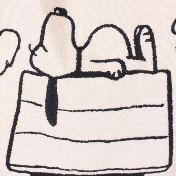 スヌーピー 刺繍ショルダーバッグ スヌーピーハウス柄 ナチュラル ピーナッツ PEANUTS SNOOPY エコバッグ トートバッグ BOO HOMES 7038908|konan|05