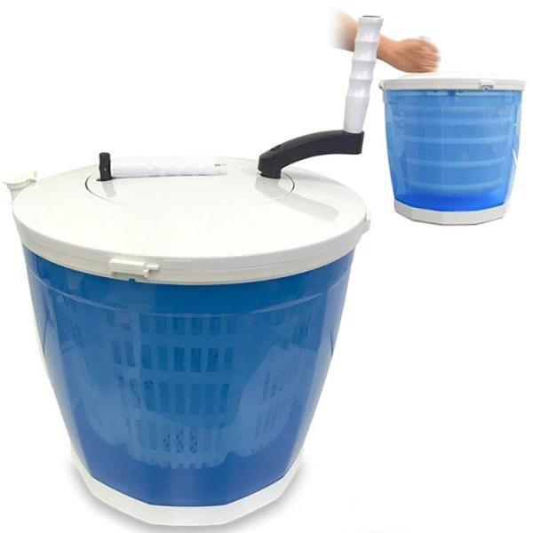 手回しポータブル洗濯機 手動 小型 バケツ型 洗濯機 脱水機 電源不要 手動洗濯機 ブルー Mitsukin HCW-200