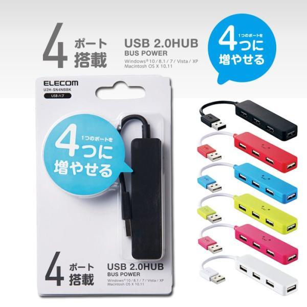 代引不可 USB2.0ハブ(コンパクトタイプ) ポップでコンパクトなスティックタイプ パソコンのUSBポートに接続してポートを増やせる4ポートUSB2.0ハブ U2H-SN4NB|konan