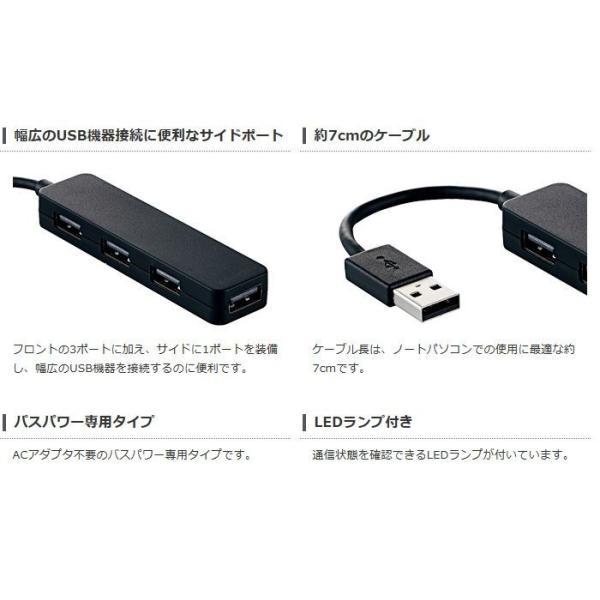 代引不可 USB2.0ハブ(コンパクトタイプ) ポップでコンパクトなスティックタイプ パソコンのUSBポートに接続してポートを増やせる4ポートUSB2.0ハブ U2H-SN4NB|konan|03