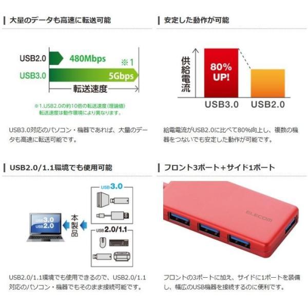 代引不可 4ポートUSB3.0ハブ(コンパクトタイプ)(USBサポートバージョン 3.0/2.0/1.1) レッド エレコム U3H-A416BRD|konan|04