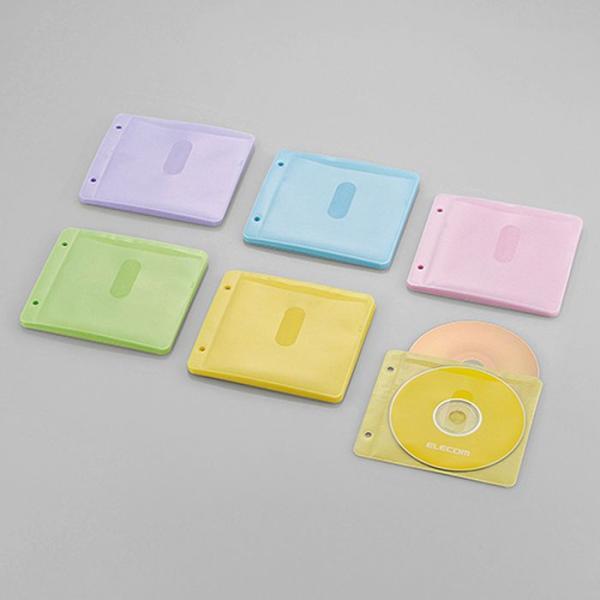 Blu−ray・CD・DVD対応不織布ケース/両面収納2穴付/30枚入/60枚収納/5色アソート エレコム CCD-NBWB60ASO