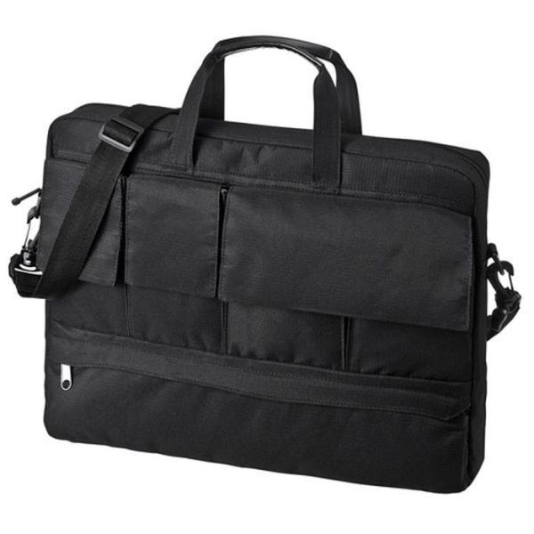 多ポケットで周辺小物も整理収納できる軽量パソコンバッグ カジュアルPCバッグ(15.6インチワイド・ブラック) サンワサプライ BAG-F7BK
