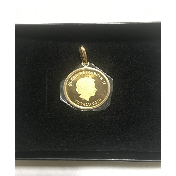 ツバル/ コイン 24金 ツバルホース金貨  1/5オンス エリザベス.  ペンダント K18枠付き シンプル枠 トップ レディース メンズ