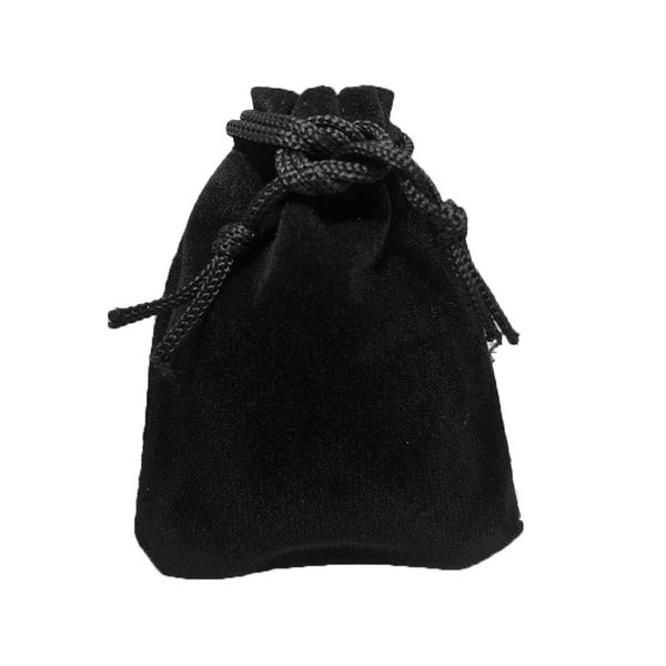 ジュエリーポーチ アクセサリー 保存袋 巾着袋 携帯用 高級ベロア調 プレゼント用ポーチ ポイント消化 Sサイズ ブラック×3枚セット|konkonya27|03