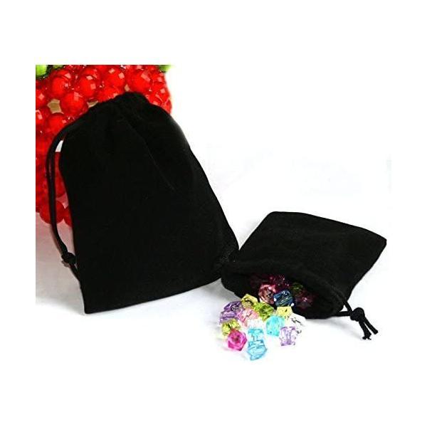 ジュエリーポーチ アクセサリー 保存袋 巾着袋 携帯用 高級ベロア調 プレゼント用ポーチ ポイント消化 Sサイズ ブラック×3枚セット|konkonya27|04