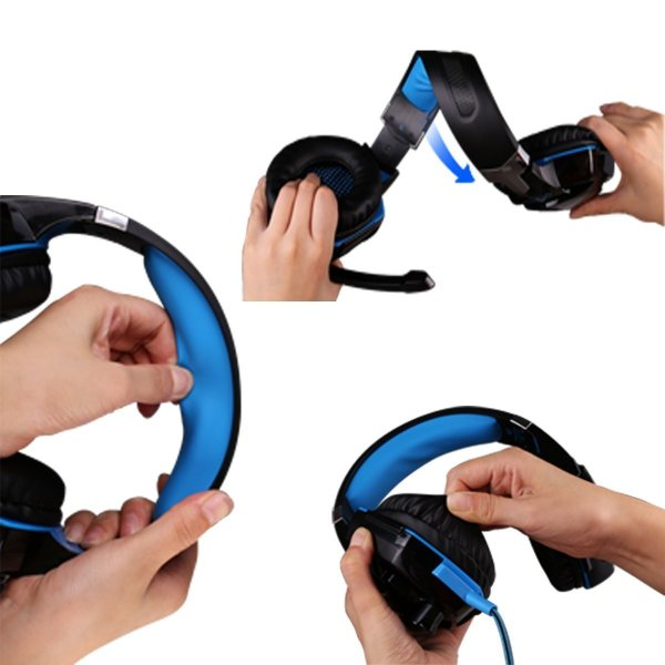 ゲーミングヘッドセット PS4 Xbox One PC  ヘッドホン ヘッドフォン マイク付き G2000 ブルー|konkonya27|11