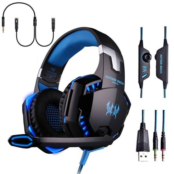ゲーミングヘッドセット PS4 Xbox One PC  ヘッドホン ヘッドフォン マイク付き G2000 ブルー|konkonya27|13