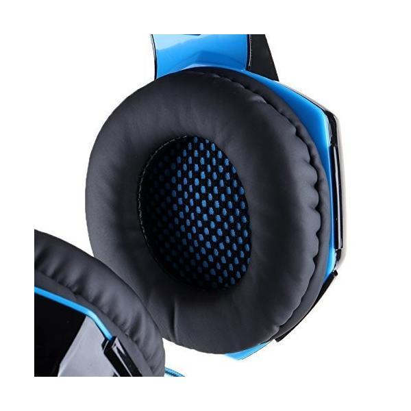 ゲーミングヘッドセット PS4 Xbox One PC  ヘッドホン ヘッドフォン マイク付き G2000 ブルー|konkonya27|09