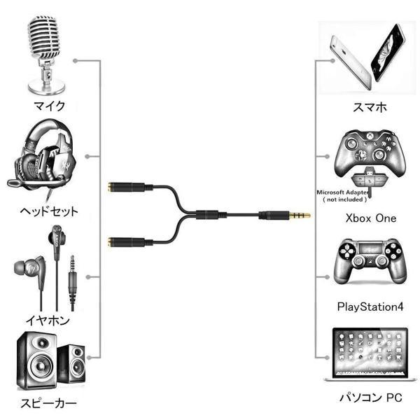 オーディオ変換ケーブル ヘッドセット ヘッドホン PS4 PC Xbox Switch Mac スマホ iPhone マイク スピーカー 3.5mm プラグ (3極メスx2 -> 4極オス) S|konkonya27|03