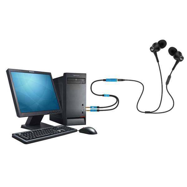 オーディオ変換ケーブル 3.5mm オーディオ分配ケーブル 4極メス-3極オス×2 マイク付き イヤホン PC ヘッドセット ヘッドホン S|konkonya27|02