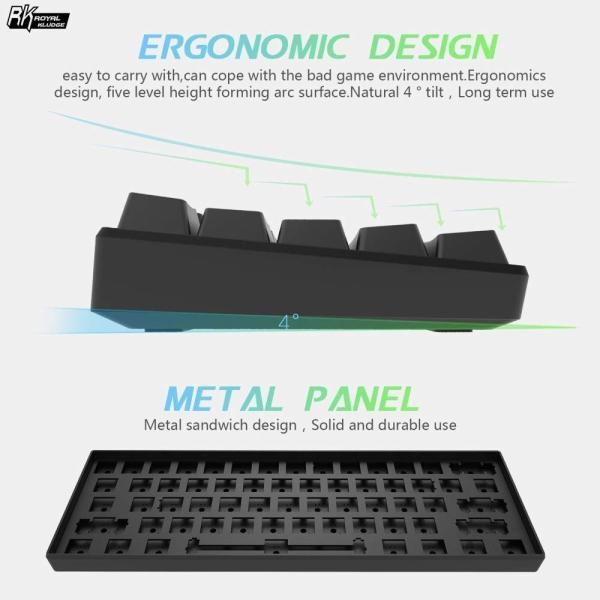 ゲーミングキーボード 有線 ワイヤレス LEDバックライト付き USB/Bluetooth 3.0両対応 多機能 メカニカルキーボード 青軸 ブラック|konkonya27|05