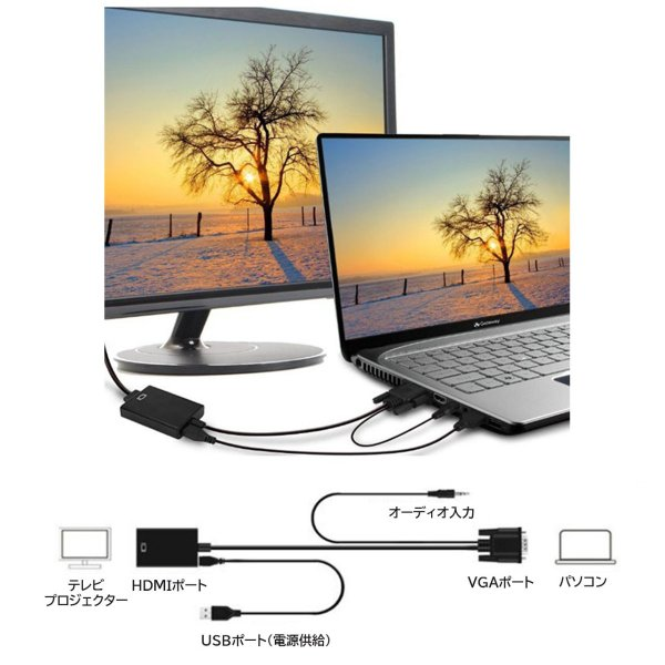 VGA HDMI 変換ケーブル ビデオケーブル 変換アダプタ 1080P USB電源付き 3.5mm音声出力 高解像度|konkonya27|10