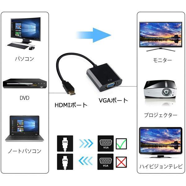 HDMI VGA変換アダプター 高速 1080P対応 3.5mm 音声出力 USB供電 オーディオケーブル USBケーブル モニター プロジェクター PC DVD HDTV用|konkonya27|04