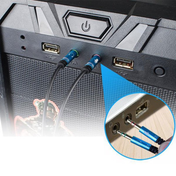 オーディオ変換ケーブル 3.5mm オーディオ分配ケーブル 4極メス-3極オス×2 マイク付き イヤホン PC ヘッドセット ヘッドホン L konkonya27 04