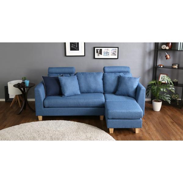 会員特価有)3人掛けカウチソファ(布地)6色展開 ヘッドレスト、クッション各2個付き|Lunion-ラニオン-|koreene|13