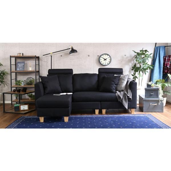 会員特価有)3人掛けカウチソファ(布地)6色展開 ヘッドレスト、クッション各2個付き|Lunion-ラニオン-|koreene|15