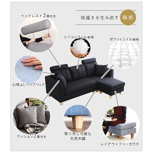 Sale)3人掛けカウチソファ(布地)6色展開 ヘッドレスト、クッション各2個付き|Lunion-ラニオン-|koreene|07