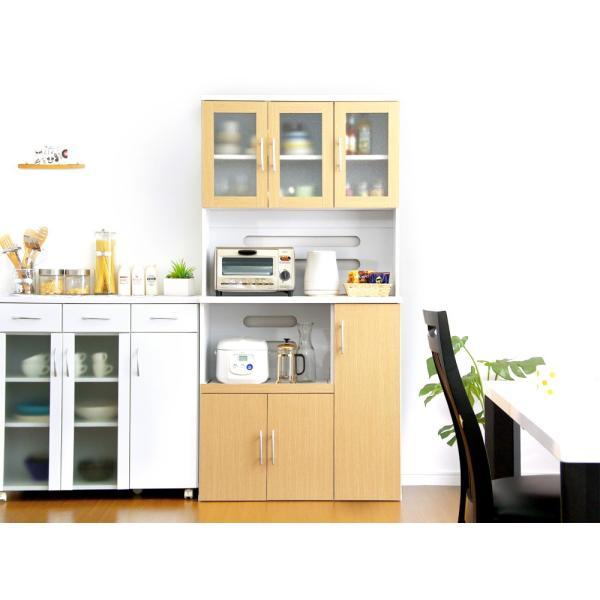 食器棚 ツートーン (パスタキッチンボード)(幅90cm×高さ180cmタイプ)|koreene|04
