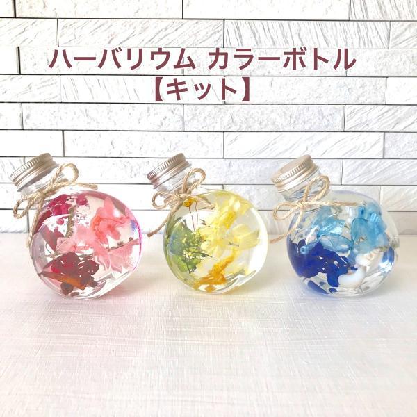 ハーバリウム キット 花材+ボトル+オイル  選べる3色カラー プリザーブドフラワーキット kotohana