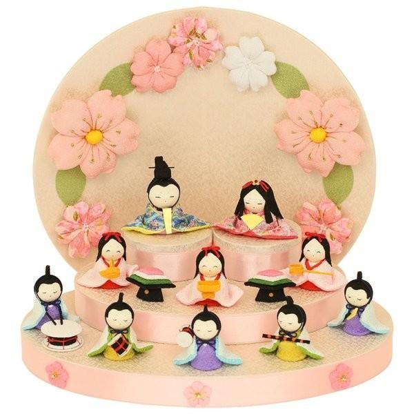 雛人形 おしゃれ ひな人形 花円雛 10人揃いちりめん 雛人形 コンパクト 小さい ミニ お雛様 ひな祭り 龍虎堂 リュウコドウ|koubou-tensho|02