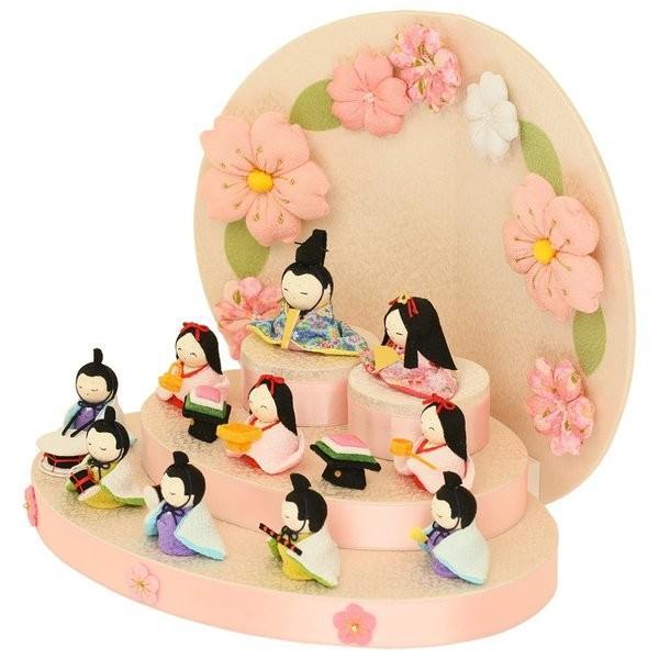 雛人形 おしゃれ ひな人形 花円雛 10人揃いちりめん 雛人形 コンパクト 小さい ミニ お雛様 ひな祭り 龍虎堂 リュウコドウ|koubou-tensho|03