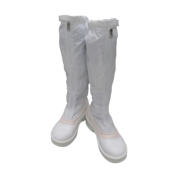 ゴールドウイン 静電安全靴ファスナー付ロングブーツ ホワイト 25.0cm (1足) 品番:PA9850-W-25.0